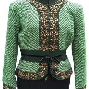 Cache Plaid Embellished Top Jacket Lined $238